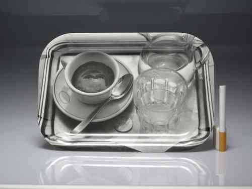 "Plastic tray 22 X 15 cm. illustrated with ""Coffee with glass and pitcher of water"""