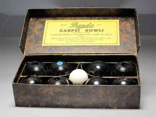 "Old bowling game ""CARPET BOWLS"" 23.5 X 11.8 cm. (IN GOOD CONDITION)"