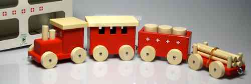 "Wooden Train ""ZÜGLI"" - Box of 24 x 15 cm. - SWISS MADE"