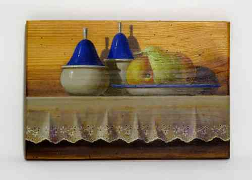 "Acrylic on wood F. Torrents ""Plate with Pears"" 21 x 31 cm."