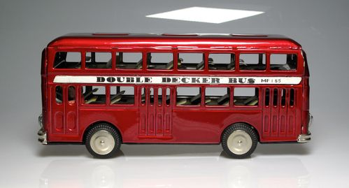 Double decker maroon metal tin approximately 1:18