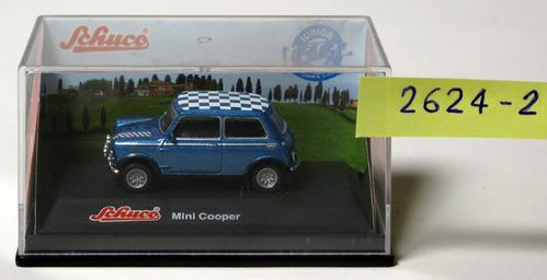 "Mini cooper with a roof blue to blue / white checkered ""Junior Line""  1:72"